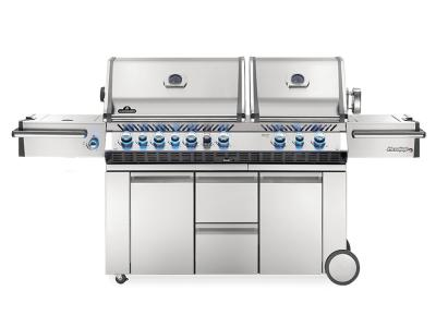 "94"" Napoleon Prestige PRO 825 Natural Gas Grill With Power Side Burner, Infrared Rear And Bottom Burners -PRO825RSIBNSS-3"