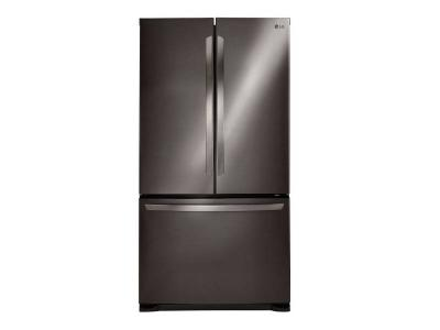 """30"""" LG 22 Cu.ft Black Stainless Steel French Door Refrigerator with Smart Cooling System - LFNS22520D"""